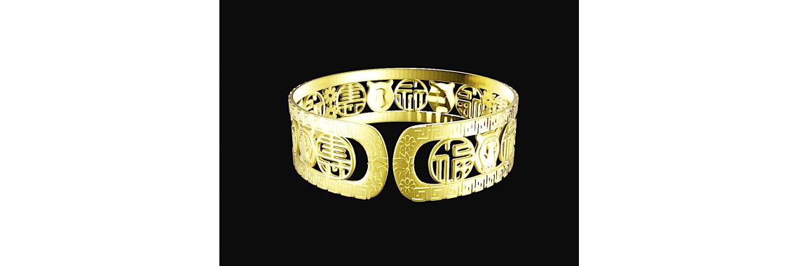 Bracelet Blessings-Prosperity-Longevity Gold